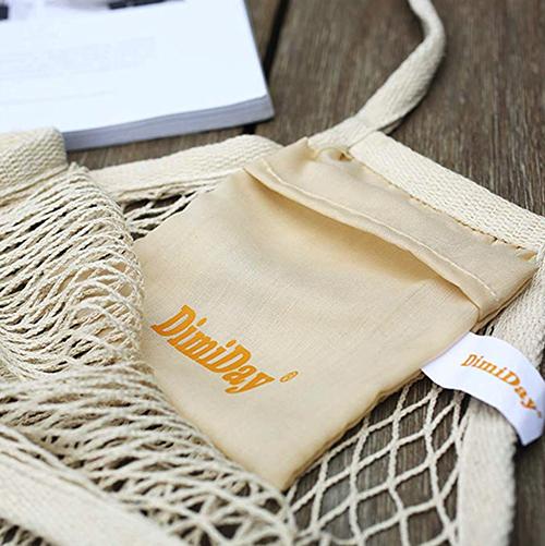 organizador de bolsas y juguetes para la compra Pack of 3 DimiDay bolsa de compras de red de algod/ón reutilizable almacenamiento playa verduras y juguetes fruta